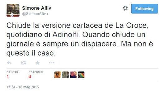 """Adinolfi: \""""La Croce non sarà più stampato\"""". E Twitter se la ride"""