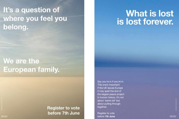 Alcuni dei 25 poster creati dall'artista Wolgang Tillmans per la campagna pro-europeista.