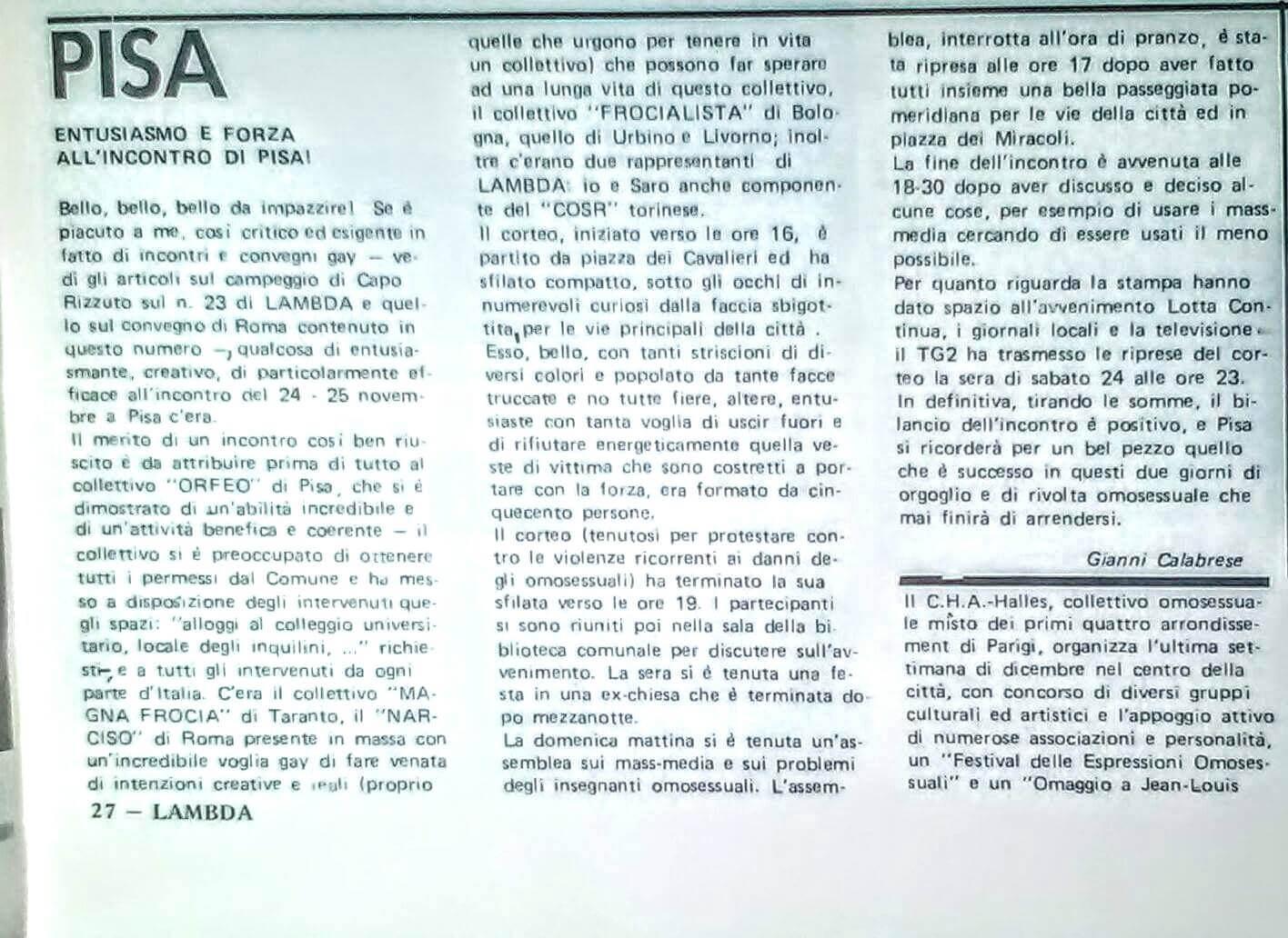 Articolo di Gianni Calabrese sulla manifestazione contro la violenza sulle persone LGBT tenutasi a Pisa il 24 novembre 1979.