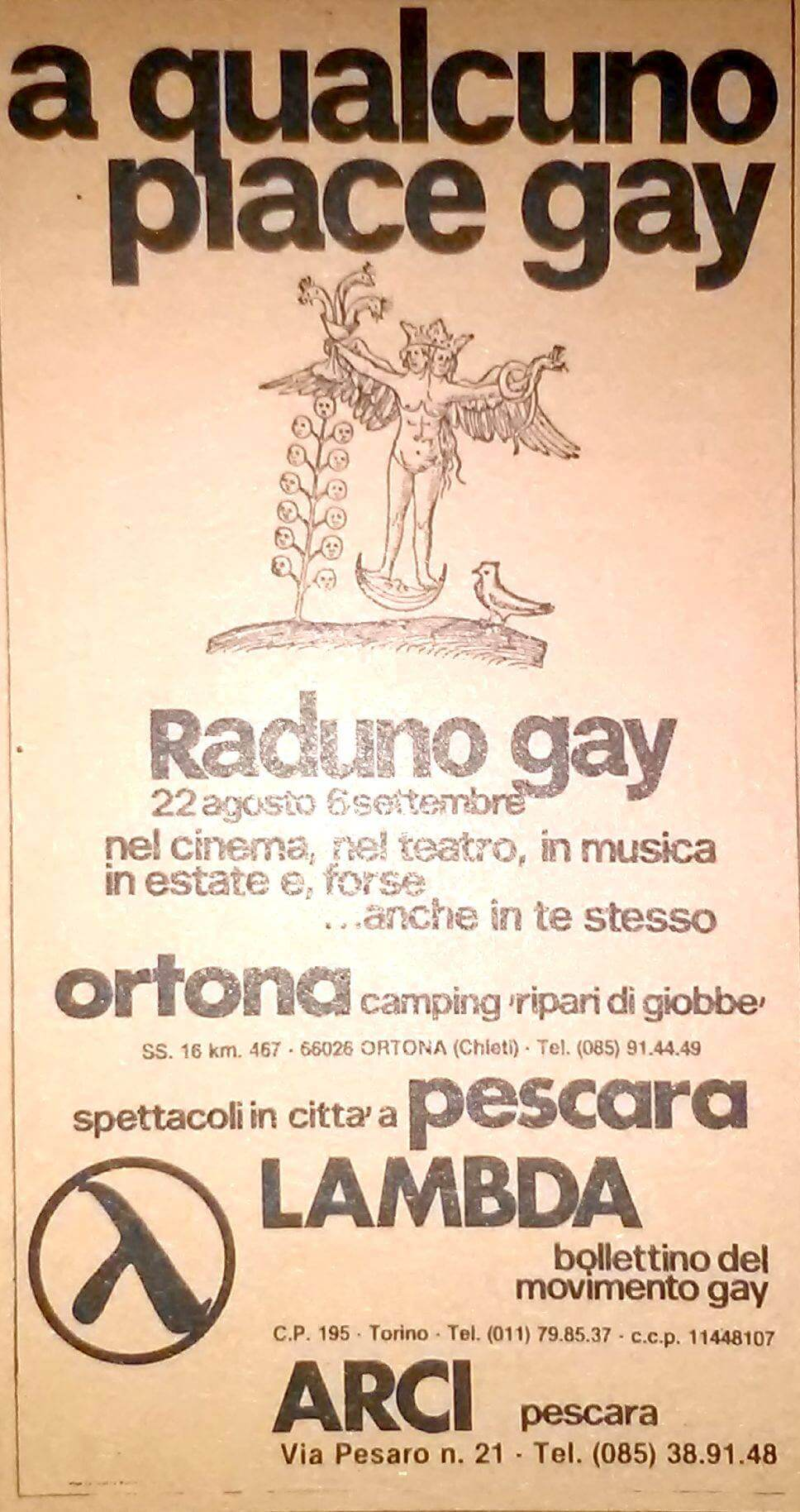 """Manifesto di """"A qualcuno piace gay"""", rassegna culturale inserita nel gay camp di Ortona, Abruzzo."""
